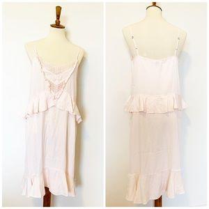 NWOT!  Chelsea28 peach lace front ruffle dress M